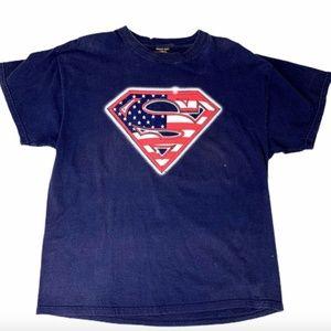 Superman Men's XL Blue T-Shirt American Flag Logo